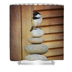 Shower Curtain featuring the photograph Zen Chickadee by Heidi Hermes