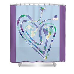 Zen Heart Labyrinth Pastel Painting Shower Curtain