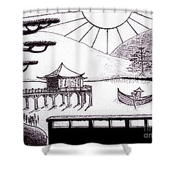 Zen Lake Original Black Ink On White Canvas By Ricardos Shower Curtain by Ricardos Creations
