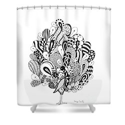 Zen Peacock Shower Curtain by Tamyra Crossley