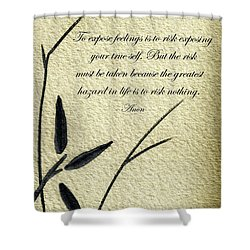 Zen Sumi 4m Antique Motivational Flower Ink On Watercolor Paper By Ricardos Shower Curtain