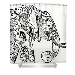 Zentangle Elephant Shower Curtain