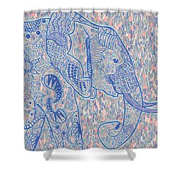 Zentangle Elephant-oil Shower Curtain