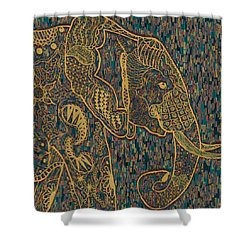 Zentangle Elephant-oil Gold Shower Curtain