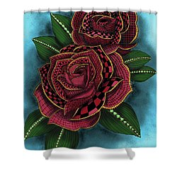 Zentangle Tattoo Rose Colored Shower Curtain