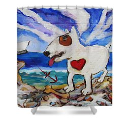 Shower Curtain featuring the painting Zephyr Dog Goes To The Beach by Dianne  Connolly