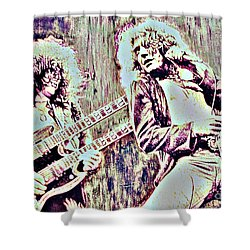 Zeppelin Concert On Wood  Shower Curtain by Natalie Ortiz