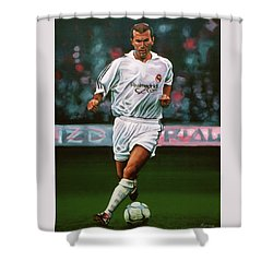 Zidane At Real Madrid Painting Shower Curtain