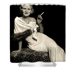 Ziegfeld Model Reclining In Evening Dress  Holding Cigarette By Alfred Cheney Johnston Shower Curtain