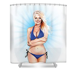 Zienna, Cheeky In Blue Shower Curtain by Brian Gibbs