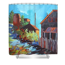 Shower Curtain featuring the painting Zig Zag Lane by Rae Andrews