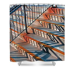 Shower Curtain featuring the photograph Zig Zag Shadows On Train Station Steps by Gary Slawsky