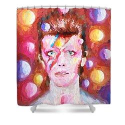 Ziggy Stardust  Shower Curtain by Louis Ferreira