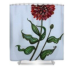 Zinnia Botanical Shower Curtain by Elizabeth Robinette Tyndall