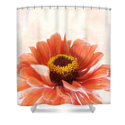 Shower Curtain featuring the photograph Zinnia Bright by Louise Kumpf