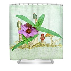 Zinnia In The Mushrooms Shower Curtain by Larry Bishop