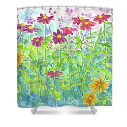Shower Curtain featuring the painting Zinnias  by Cathie Richardson