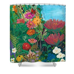 Zinnias Garden Shower Curtain by Robin Maria Pedrero