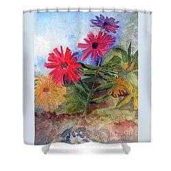Zinnias In The Garden Shower Curtain
