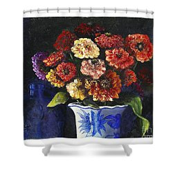 Shower Curtain featuring the painting Zinnias by Marlene Book