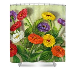 Shower Curtain featuring the painting Zinnias by Randol Burns