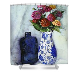 Zinnias With Blue Bottle Shower Curtain