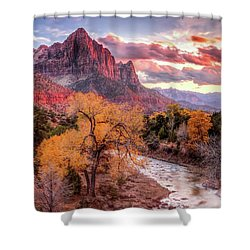 Zion Autumn Sunset Shower Curtain