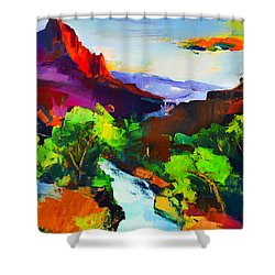 Shower Curtain featuring the painting Zion - The Watchman And The Virgin River by Elise Palmigiani