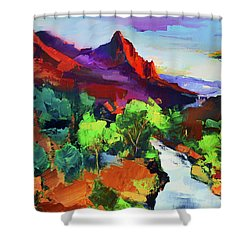 Shower Curtain featuring the painting Zion - The Watchman And The Virgin River Vista by Elise Palmigiani