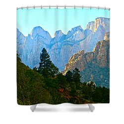 Zion's Hint Of Blue Shower Curtain