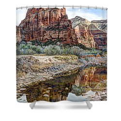 Zions National Park Angels Landing - Digital Painting Shower Curtain