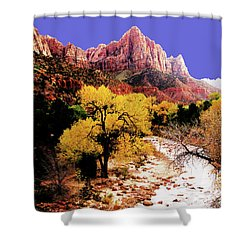 Shower Curtain featuring the photograph Zion's Watchman by Norman Hall