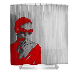 Zoe In Red Shower Curtain by Naxart Studio