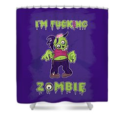 Shower Curtain featuring the digital art Zombie by Julia Art