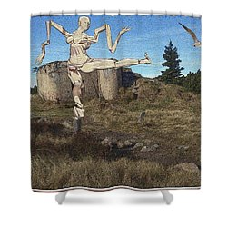 Zombie Near The Ruins Shower Curtain