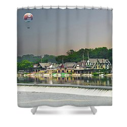 Shower Curtain featuring the photograph Zoo Balloon Flying Over Boathouse Row by Bill Cannon