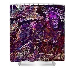 Shower Curtain featuring the digital art Zoo Monkey Animal  by PixBreak Art