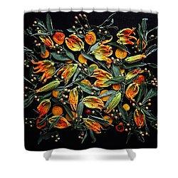 Zucchini Flower Patterns Shower Curtain