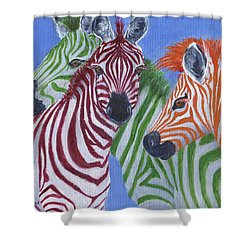 Shower Curtain featuring the painting Zzzebras by Jamie Frier