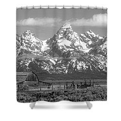 Mormon Row Moulton Barn Black And White Panorama Shower Curtain by Adam Jewell