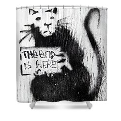 Banksy Rat The End Is Here Shower Curtain