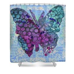 Believe Butterfly Shower Curtain