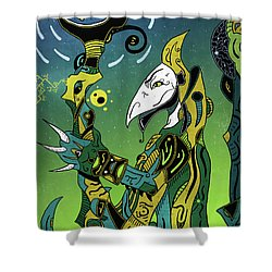 Shower Curtain featuring the digital art Birdman by Sotuland Art