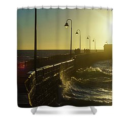 Shower Curtain featuring the photograph Caleta Walkway At Sunset Cadiz Spain by Pablo Avanzini