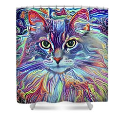 Colorful Long Haired Cat Art Shower Curtain
