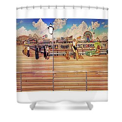 Coney Island Boardwalk Towel Version Shower Curtain