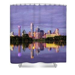 Dallas Texas Cityscape Reflection Shower Curtain