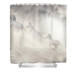 Dramatic Dusty Great Migration In Kenya Shower Curtain