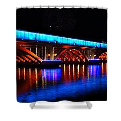 Evening View Of The Love River And Illuminated Bridge Shower Curtain
