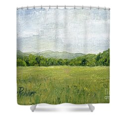 Fields Meet Mountains Shower Curtain